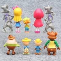 Wholesale 9 Pcs Set High Quality Plastics Cartoon Dolls Anime Fashion Action Figures Car Office Table