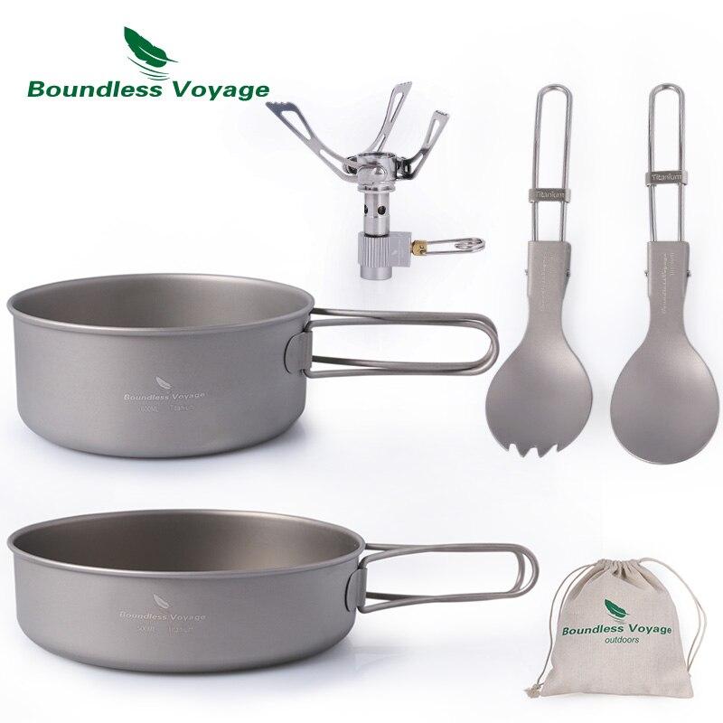 Voyage sans bornes en plein air en titane Pot Pan cuillère Spork poêle ensemble Camping randonnée vaisselle cuisine ensemble avec poignée pliante Ti1580B