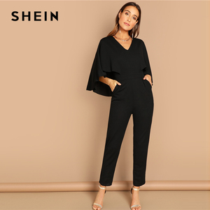 Image 4 - SHEIN Modern Lady Going Out Party Black Elegant V Neck Solid Cape Long Sleeve Cloak Sleeve Jumpsuit Winter Women Jumpsuits