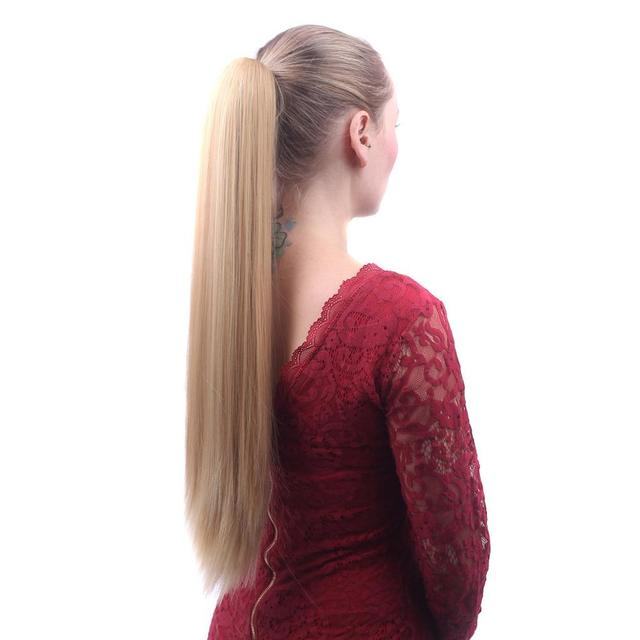 Long Straight Heat Resistant Synthetic Hair Pony Tails Extensions For Women