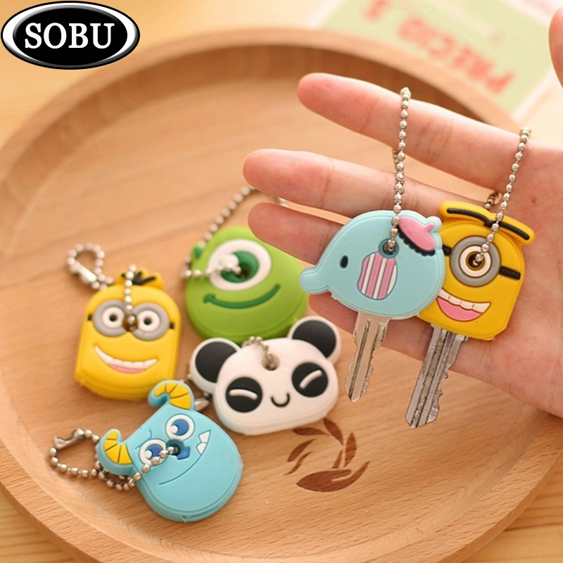 1PCS Animal Cartoon Silicone Protective Key Case Cover For Key Control Dust Cover Holder Organizer Home Accessories P012a