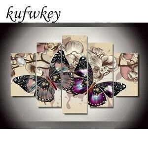 Image 1 - 5 sztuk/zestaw kwiaty motyle dekoracji wnętrz DIY diament malarstwo Cross Stitch dekoracje ścienne diament haft Multigang rysunek