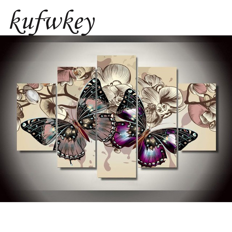 5st / set Butterfly blommor Heminredning DIY diamantmålning Cross Stitch vägg dekoration diamant Broderi Multigang figur