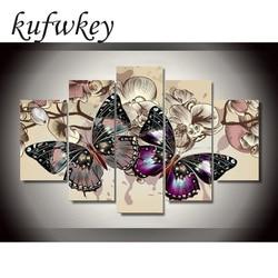 5pcs/set Butterfly flowers Home Decoration DIY diamond painting Cross Stitch wall decoration diamond Embroidery Multigang figure