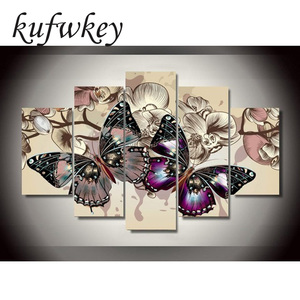 Image 1 - 5pcs/set Butterfly flowers Home Decoration DIY diamond painting Cross Stitch wall decoration diamond Embroidery Multigang figure