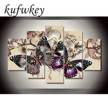 Juego de 5 unidades de flores de mariposa para decoración del hogar, pintura de diamante artesanal, punto de cruz, bordado de diamantes de decoración de pared, figura multibanda