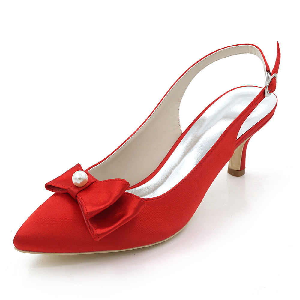 Creativesugar slingback satin evening dress shoes pointed toe pearl bow 6cm kitten heels pumps bridal wedding party rose red