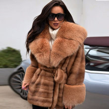 2019 Real Mink Fur Coat With Fox Fur Collar For Women Winter Turn Down Collar Jacket With Fur Belt Warm Female Outwear Solid women winter real red fox fur coat 120cm long luxury for female red fox fur jacket with big turn down collar thick warm fur coat