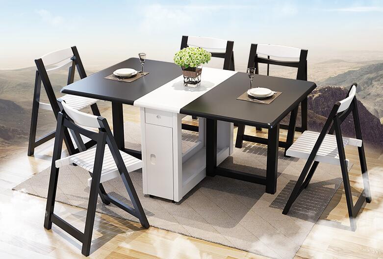 €1367.1  Mesa de comedor hogar telescópico plegable pequeño apartamento  simple Pie de madera maciza multiusos mesa de comedor y silla combinati-in  ...
