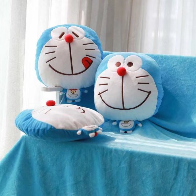 candice guo! Super cute plush toy funny tongue smile kiss Doraemon stuffed doll cushion blanket birthday Christmas gift 1pc