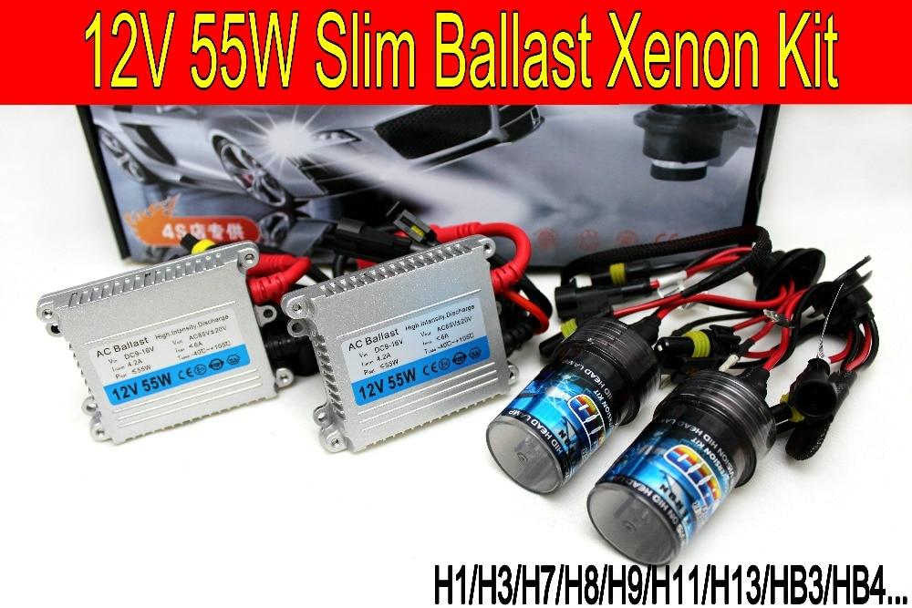 Бесплатная доставка Высокое качество 12В 55Вт hid xenon комплект H1 H3 H7 H8 H9 H11 H4 Bi XENON 9005 9006 6000K hid комплект ксеноновых фар для всех фар