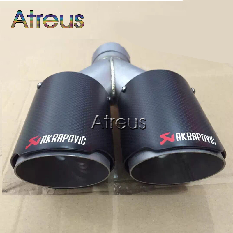 Multiple Sizes Twin Akrapovic Carbon Fiber Car Exhaust pipe Tip For Mazda Nissan Hyundai Kia Buick Seat Abarth Volvo Accessories abarth фиат ритмо запчасть