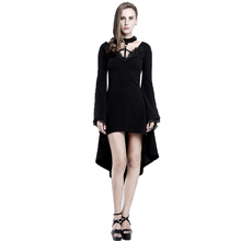 Gothic Steampunk Winter Women's Black Dress 2017 Aasymmetric Sexy Flare Sleeve Halter Midi Dresses For Female Clothing GQ1673
