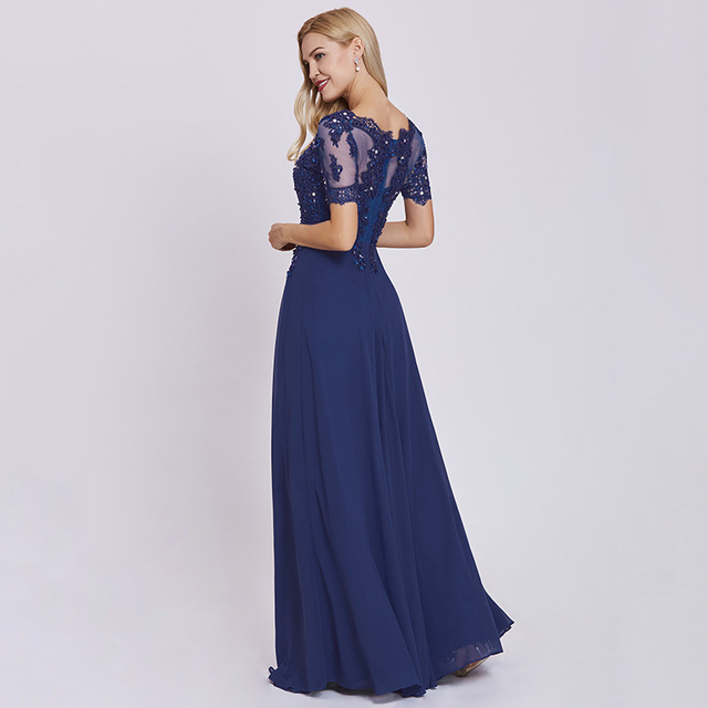 Dressv dark royal blue long evening dress cheap short sleeves appliques a line wedding party formal dress lace evening dresses 1