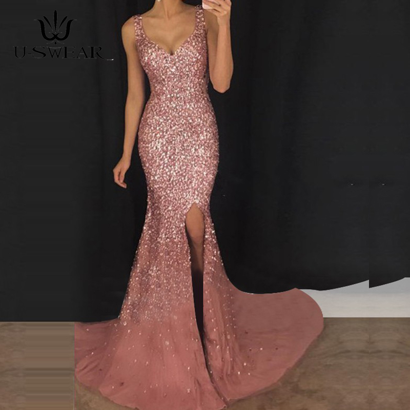 U-SWEAR Glamorous Deep V-Neck Spaghetti Straps Backless Mermaid Sequin Evening Dresses Prom Party Formal Dresses Robe Ceremonie