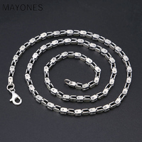 4mm Thick Necklace 100% 925 Sterling Silver Men Women Openwork bamboo chain Square Best Friend Necklace Pendant Jewelry 2019
