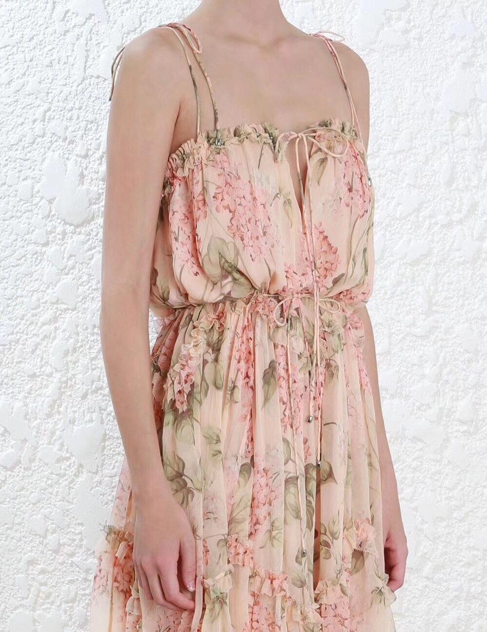Floral Robe Floral Spaghettie Femmes Midi Prima Bretelles Volants georgette Soie Asymétrique print À Pink qFTgYw