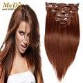 Brasileño pelo de la virgen de remy derecho Clip en extensiones de cabello humano 200 g/set honey blonde Clip en #33 extensión del pelo humano