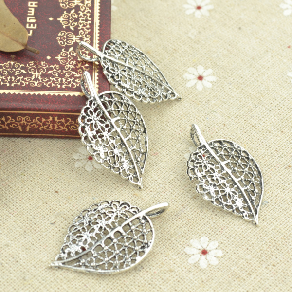 15pcs alloy Tibetan Silver Plated tree leaf Charms Pendants for Jewelry Making DIY Handmade Craft 40*23mm 2186
