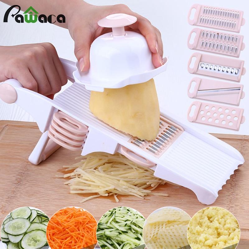 5-in-1 מנדולינה כלי פריסת ירקות ופר פומפייה Julienne קאטר תפוחי אדמה נירוסטה להבים מסוק בצל גאדג 'טים למטבח