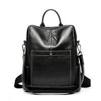 New ladies tide cross section leather zipper backpack Korean version of leather casual versatile travel bulk backpack