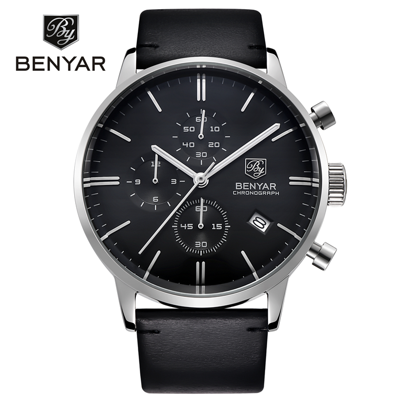 BENYAR Men Sport Chronograph Quartz Watch Waterproof Leather Calendar Stopwatch Wrist Watch Gold Silver Clock Relogio MasculinoBENYAR Men Sport Chronograph Quartz Watch Waterproof Leather Calendar Stopwatch Wrist Watch Gold Silver Clock Relogio Masculino