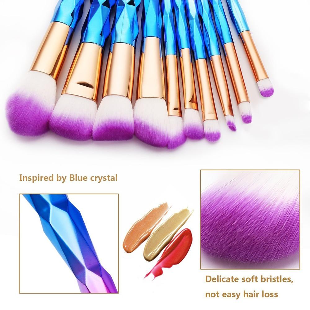 10pcs Kabuki Brush Colorful Diamond Makeup Brush Beauty Tools Golden Eye shadow Lip Powder Brushes Kits Plating Unicorn Brushes