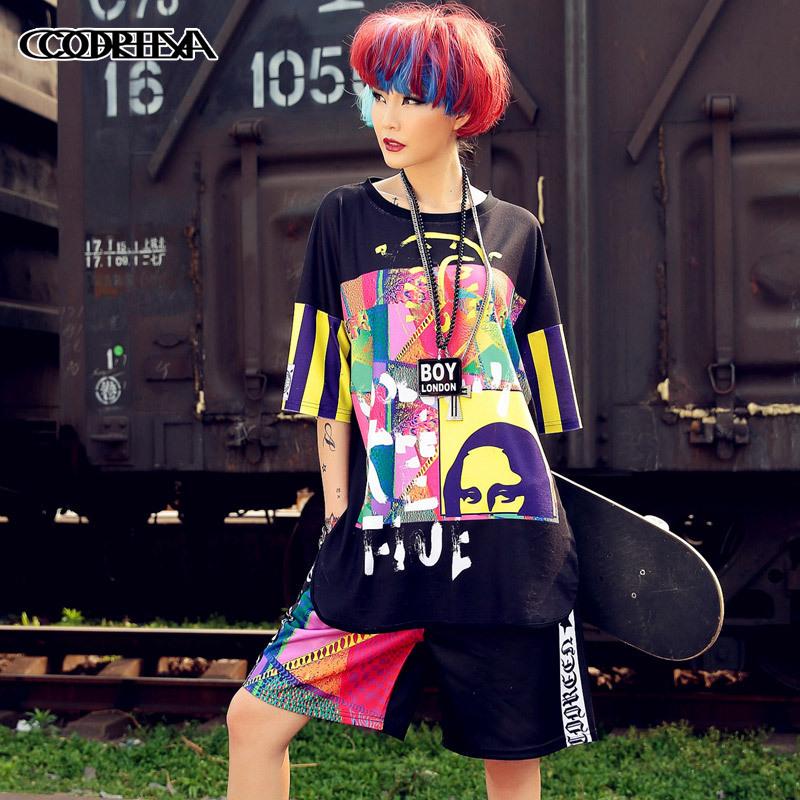 Print Fashion Women Hip Hop Clothing Style Floral Baseball Soft T Shirt Streetwear Dance Rock