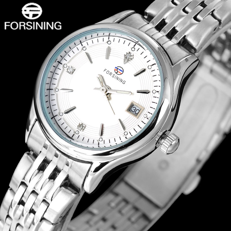 FORSINING fashion women quartz watches casual brand women s auto date watches ladies steel band wristwatches