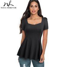 素敵な永遠の簡単なカジュアルな正方形の襟 tシャツ半袖フリルスタイリッシュなフィット女性の女性の tシャツトップス B505
