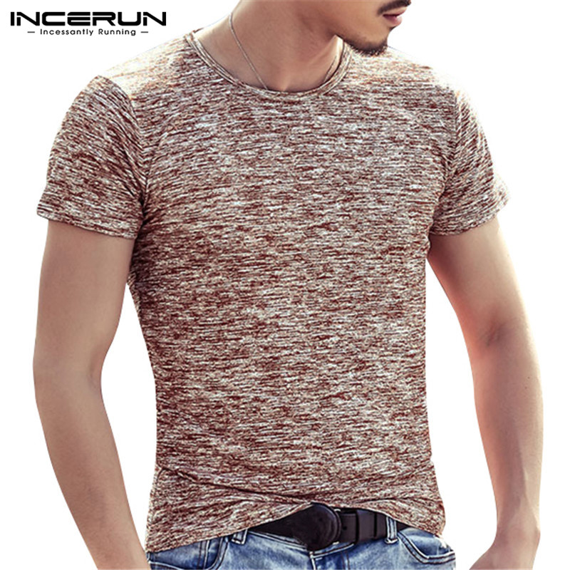 INCERUN Fashion 2018 Summer Mens Slim Fit Muscle Tee T-Shirts Short Sleeve O Neck Comfortable Male Clothes Plus Size S-4XL