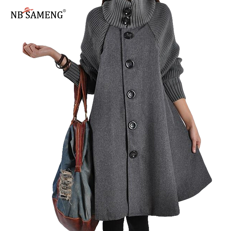 2018 Autumn Winter New Korean Coat High Quality Women Coats Long Loose Woolen Coat Cloak A-Line Wool Coat for Women