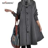 2018 Abrigos Mujer Invierno Autumn Winter New Korean Coat Women Coats Long Loose Woolen Coat Cloak A Line Mantel Wolle Frau