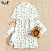 Dotfashion Cute Allover Banana Print Half Placket Babydoll Dress Lapel Button Short Sleeve 2017 Summer Short