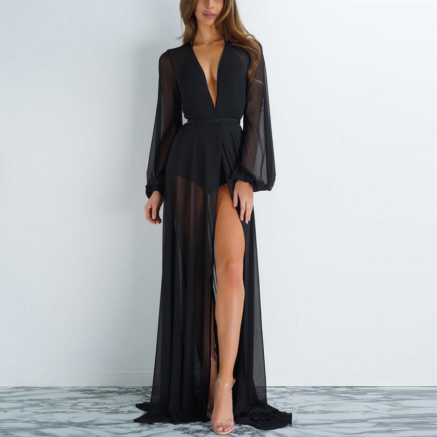 2018 new summer sexy Women Chiffon see-through Bikini long Cover Up Swimsuit Swimwear Beach Dress Bathing Suit