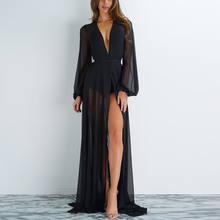 2019 new summer sexy Women Chiffon see-through Bikini long Cover Up Swimsuit Swimwear Beach Dress Bathing Suit(China)