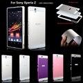 Para soni z case moda casos de telefone celular de luxo de metal de alumínio armação de plástico rígido capa case para sony xperia z l36h C6603