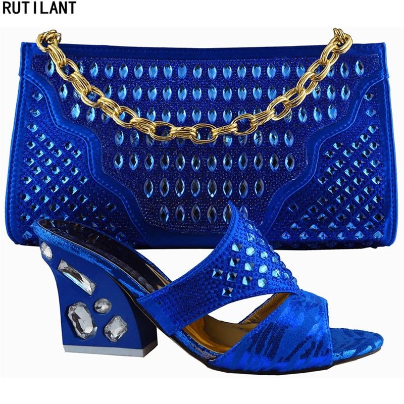 Assorties De Chaussure Femmes Parti Et Chaussures Mode Sac Nouveau Bleu En Mariage or Ventes Africaines Nigérien Ensembles Set argent QdBxoerCW