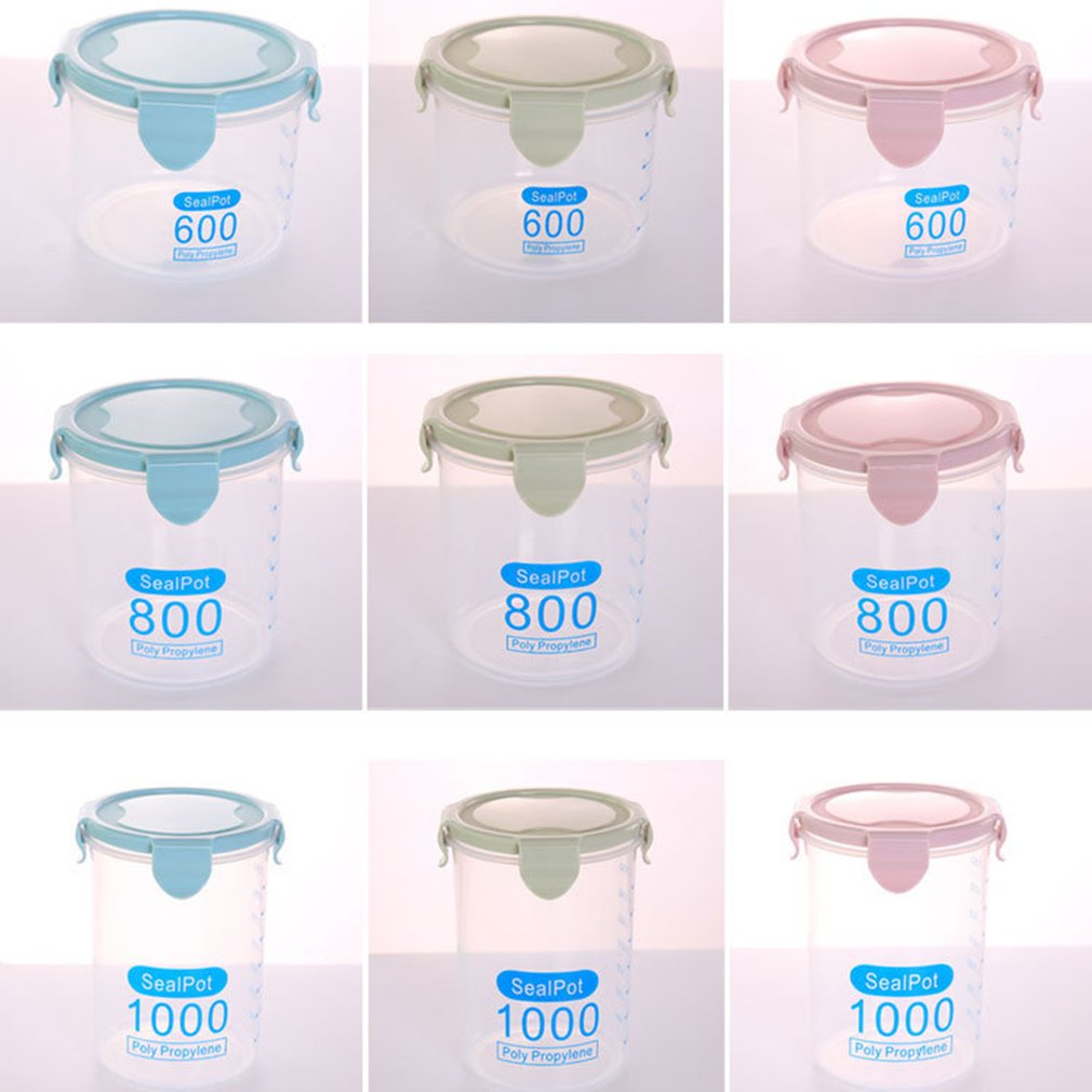 Multi functional Clear Plastic Sealed Cans Storage Tank Kitchen Dry Food Containers Home Food Grain Storage Jar in Storage Bottles Jars from Home Garden