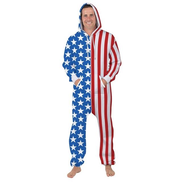 USA Flag Print Loose Hooded Onesie Men – 21JS