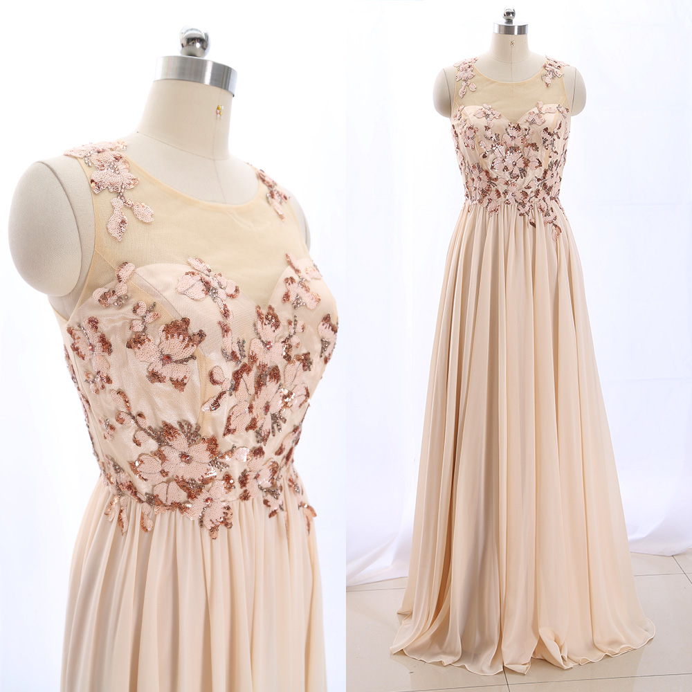 MACloth Blush 0 Scoop Neck Floor-Length Long Crystal Tulle   Prom     Dresses     Dress   M 265574 Clearance