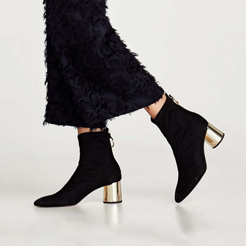 HZXINLIVE 2018 Metal Back Ring Women Autumn Shoes 6 CM Chunky Heels Ankle Boots for Women Faux Suede Ankle Booties Shoes Woman цена