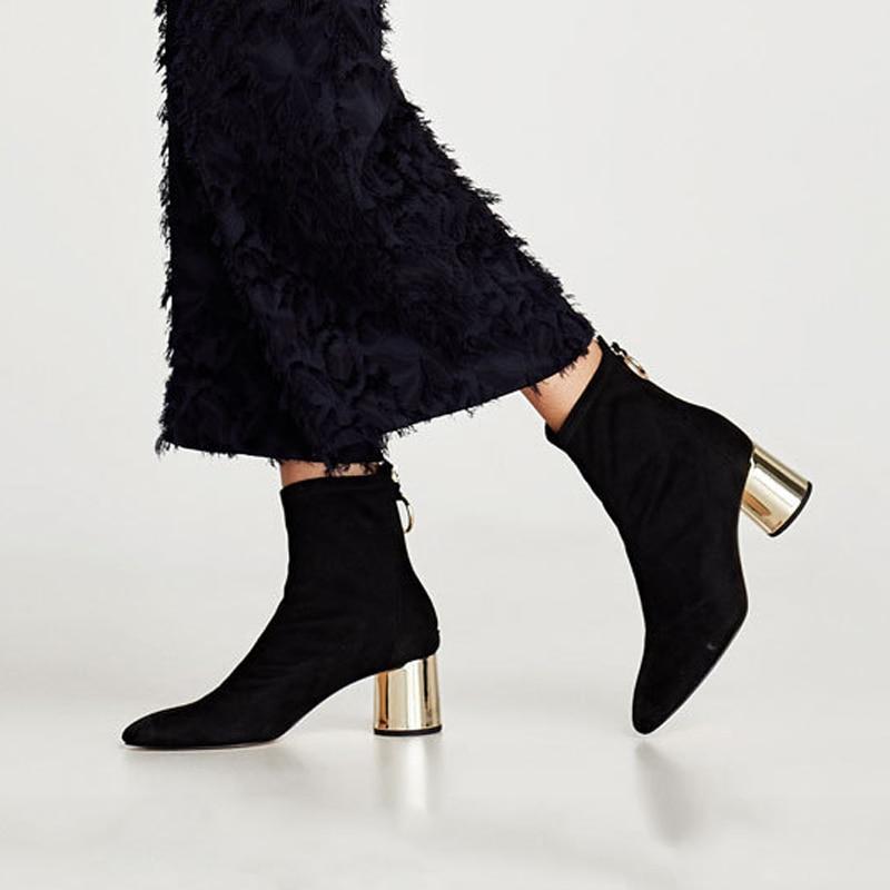 HZXINLIVE 2018 Metall Zurück Ring Frauen Herbst Schuhe 6 cm Chunky Heels Stiefeletten für Frauen Faux Wildleder Ankle Booties schuhe Frau