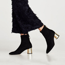 9ca6d153b HZXINLIVE 2019 Primavera Ankle Boots para As Mulheres Anel De Metal de  Volta 6 CM Saltos Robustos Mulheres Sapatos botas de Torn.
