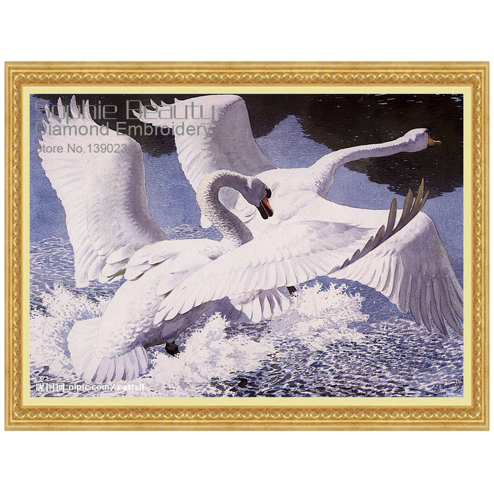 New Diamond Mosaic Full Diamond Embroidery Swan Bird On River 5D Diy Diamond Painting Cross Stitch Square Diamond Set Home Decor
