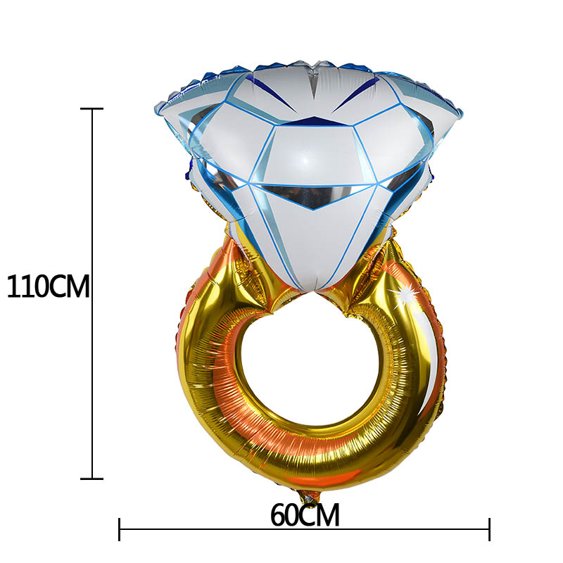 1 Pc New Engagement Braut Ring Aluminium Folie Ballon Diamant Ring Geformt Aluminium Luftballons Hochzeit Party Hochzeit Raum Dekoration