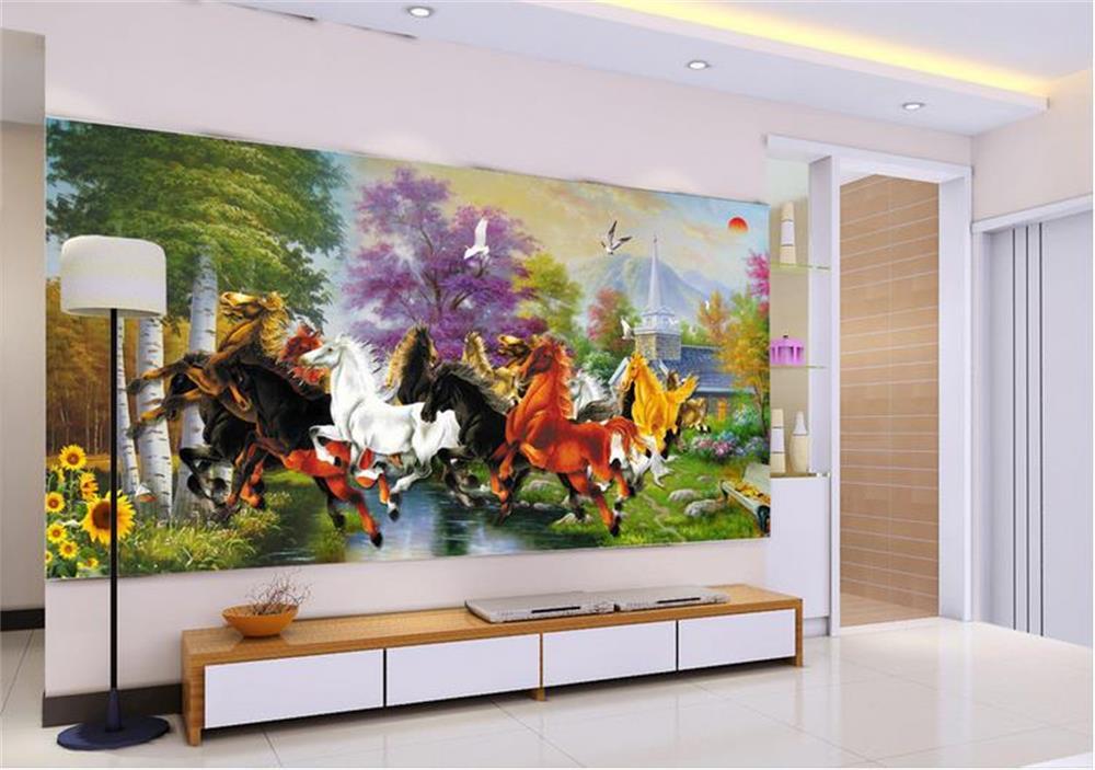 3D wallpaper/custom photo wall paper/Eight horse river Forest flower/mural/TV/sofa/Bedroom/KTV/Hotel/living room/Children room