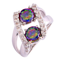 Wholesale Fashion Jewelry Extravagant Round Cut Rainbow & White Sapphire 925 Silver Ring Size 6 7 8 9 10