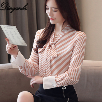 ae00179f6 Dingaozlz nueva blusa de las mujeres de manga larga dama coreano de moda  arco corbata de rayas Camisa de gasa blusas femininas
