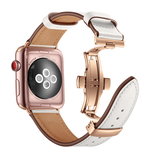 Image 4 - High quality Leather Band for Apple Watch Series 4 44mm 40mm Rose gold Butterfly clasp Strap watchband for iWatch 3/2/ 42mm 38mm